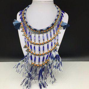 ZARA Blue Feather Statement Bib Necklace Orange +